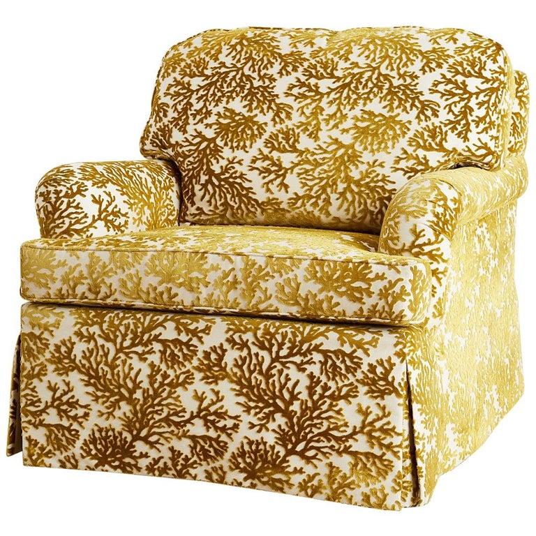 kravet sea green coral velvet upholstered club chair for sale at 1stdibs. Black Bedroom Furniture Sets. Home Design Ideas