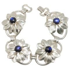Kreisler Deep Blue Gemstone Sterling Silver Flower Link Bracelet, Foldover Clasp
