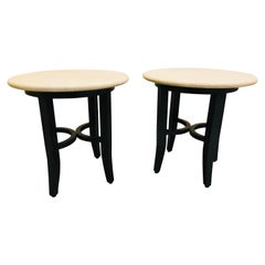 Kreiss Collection Pair of Travertine Top End Tables