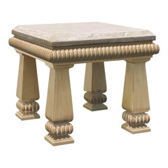 Kreiss Contemporary Travertine Stone Carved Wood Accent Table