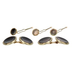 Krementz 14 Karat Gold and Mother of Pearl Cufflinks and Button Dress Set