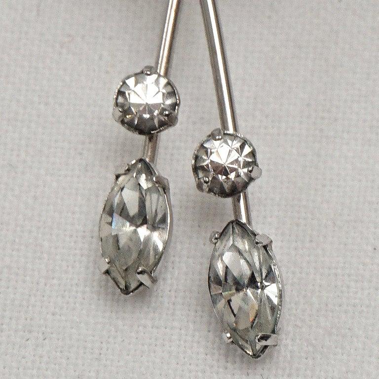 Krementz 14K White Gold Overlay Leaf Design Rhinestone Necklace and Earring Set For Sale 11
