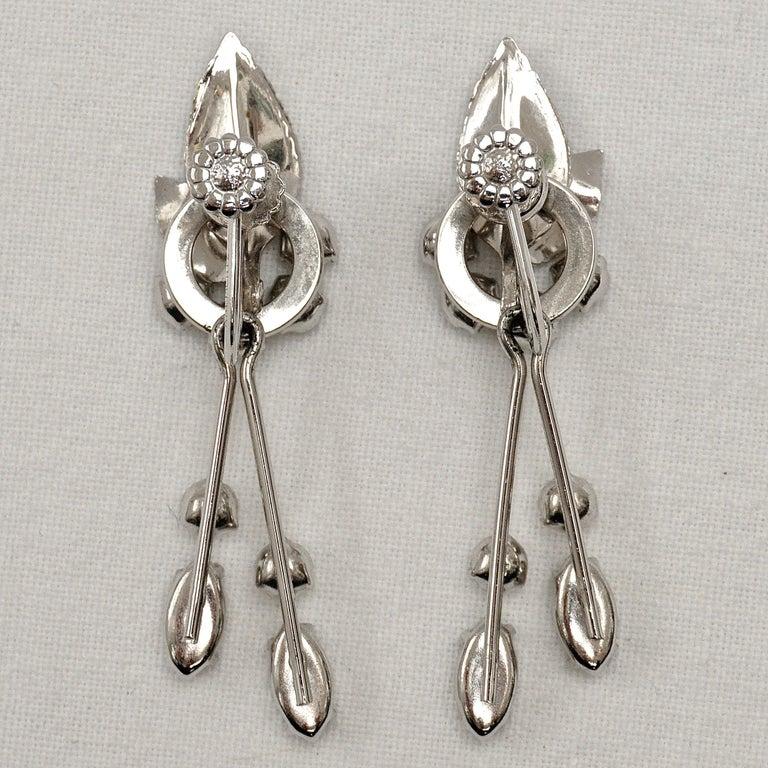 Krementz 14K White Gold Overlay Leaf Design Rhinestone Necklace and Earring Set For Sale 13