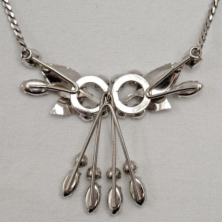 Krementz 14K White Gold Overlay Leaf Design Rhinestone Necklace and Earring Set For Sale 1