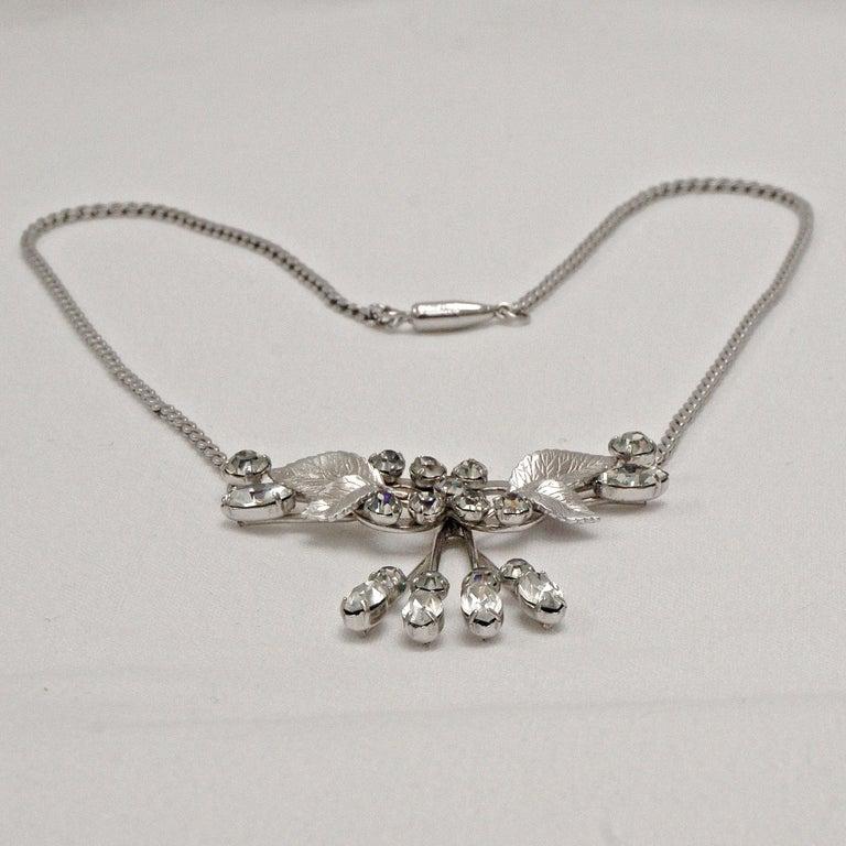 Krementz 14K White Gold Overlay Leaf Design Rhinestone Necklace and Earring Set For Sale 5