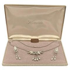 Krementz 14K White Gold Overlay Leaf Design Rhinestone Necklace and Earring Set
