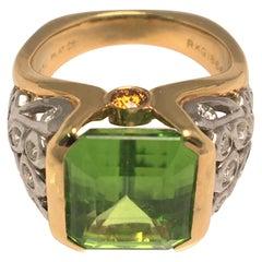 Richard Krementz Peridot Platinum and 18K Yellow Ring with Diamonds