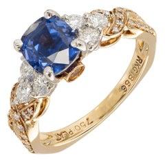Krementz 2.46 Carat Sapphire Diamond Platinum Gold Engagement Ring