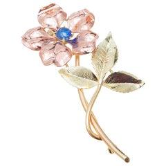 Krementz .60 Carat Sapphire Gold Flower Brooch