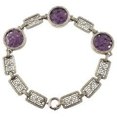 Krementz Art Deco Sterling Silver Purple Carved Peking Glass Filigree Bracelet