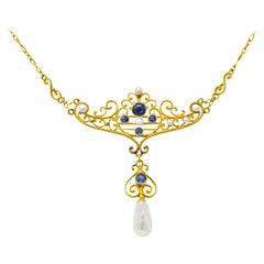 Krementz Art Nouveau 0.57 Carat Sapphire Pearl 14 Karat Gold Necklace