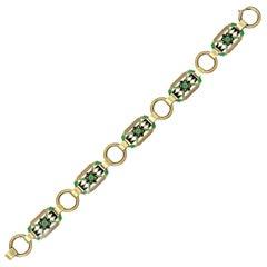 Krementz Art Nouveau 14 Karat Gold Enamel Panel Link Bracelet