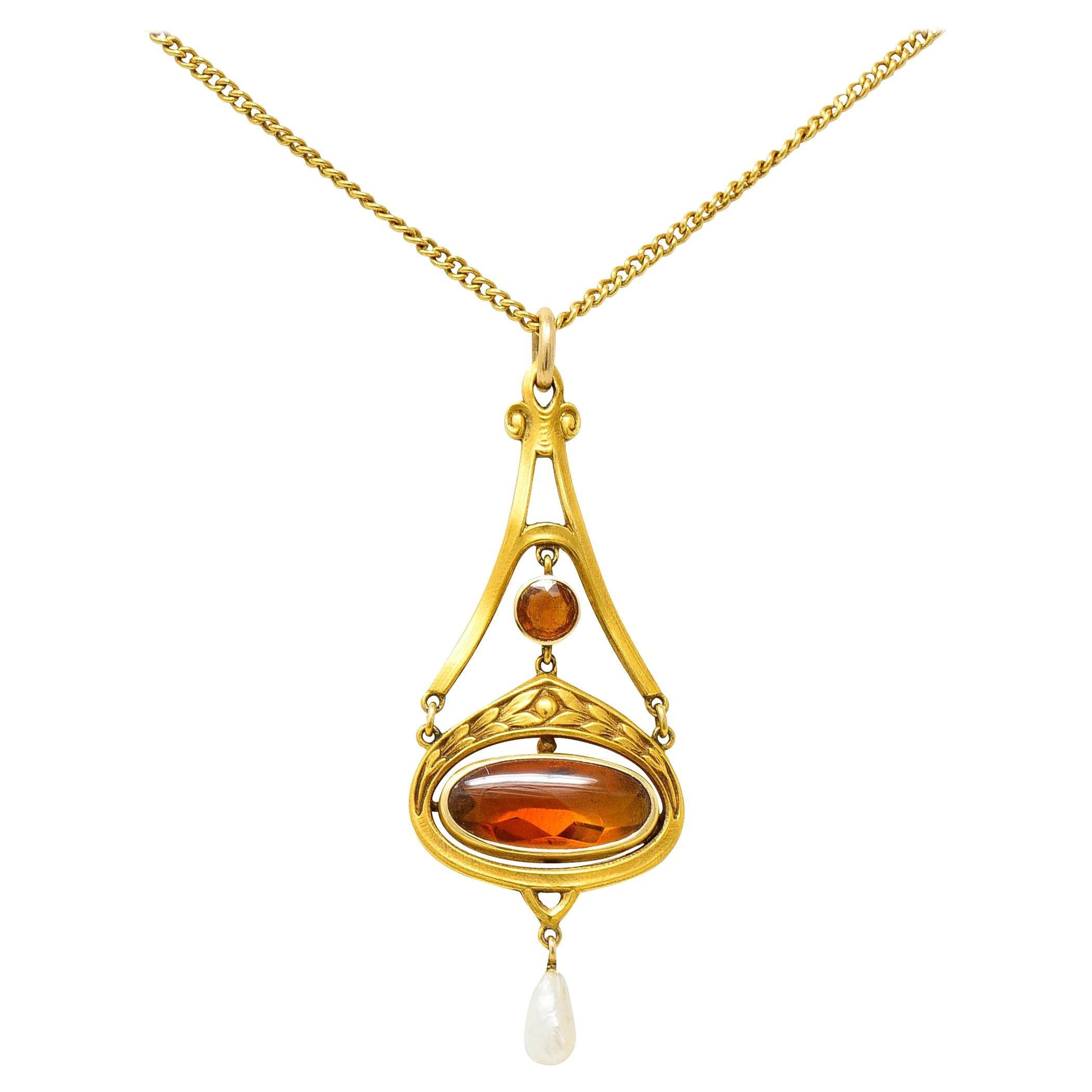 Krementz Art Nouveau Citrine Pearl 14 Karat Gold Pendant Necklace