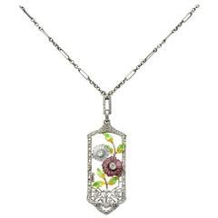 Krementz Art Nouveau Diamond Garnet Rock Crystal Enamel 14 Karat Gold Necklace