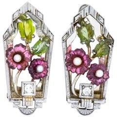 Krementz Art Nouveau Diamond Garnet Tourmaline Pearl 14 Karat Gold Clip Pins