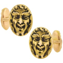 Krementz Art Nouveau Double Sided Repousse Devil Face Cufflinks