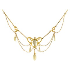 Krementz Art Nouveau Yellow Gold Natural Pearl Festoon Necklace
