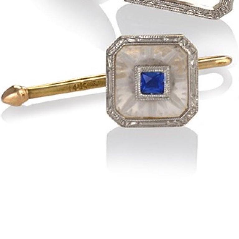 Men's Krementz & Co. Art Deco Sapphire Rock Crystal Platinum and Gold Dress Set For Sale