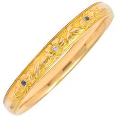Krementz Diamond Sapphire 14 Karat Gold Engraved Floral Bangle Bracelet
