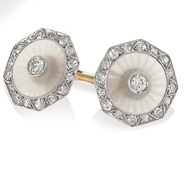 Men's Krementz for Dreicer Art Deco Diamond Rock Crystal Platinum and Gold Dress Set For Sale