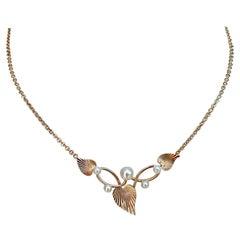 Krementz Gold Overlay Cultured Pearl and Ridged Leaf Design Pendant Necklace