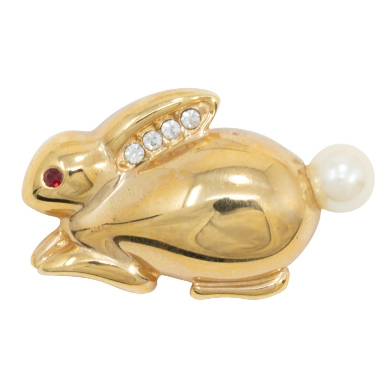 Krementz Golden Bunny Pin Brooch, Faux Pearl and Crystal Accents For Sale