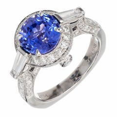 Krementz 3.57 Carat Natural Sapphire Diamond Platinum Engagement Ring