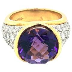 Krementz Platinum and Yellow Gold Amethyst and Diamond Ring
