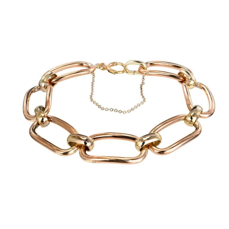 Krementz Retro Rose Green White Gold Link Bracelet