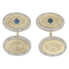 Krementz Sapphire Art Deco Cufflinks Yellow Gold, 14k Round .28ct Men's Vintage