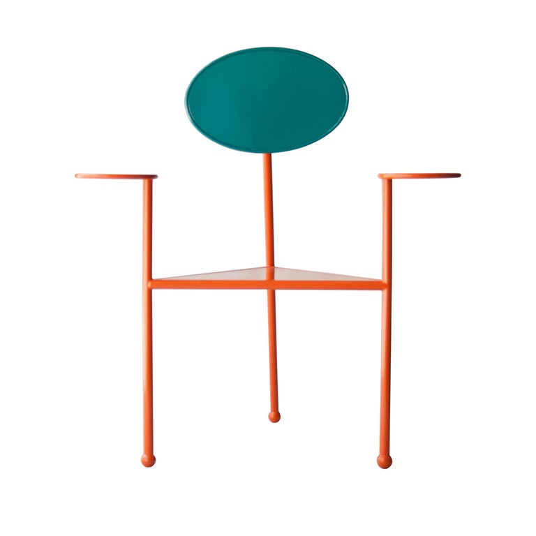 Two chairs designed by Kresta Design Studio. Steel structure lacquered in two colors.
