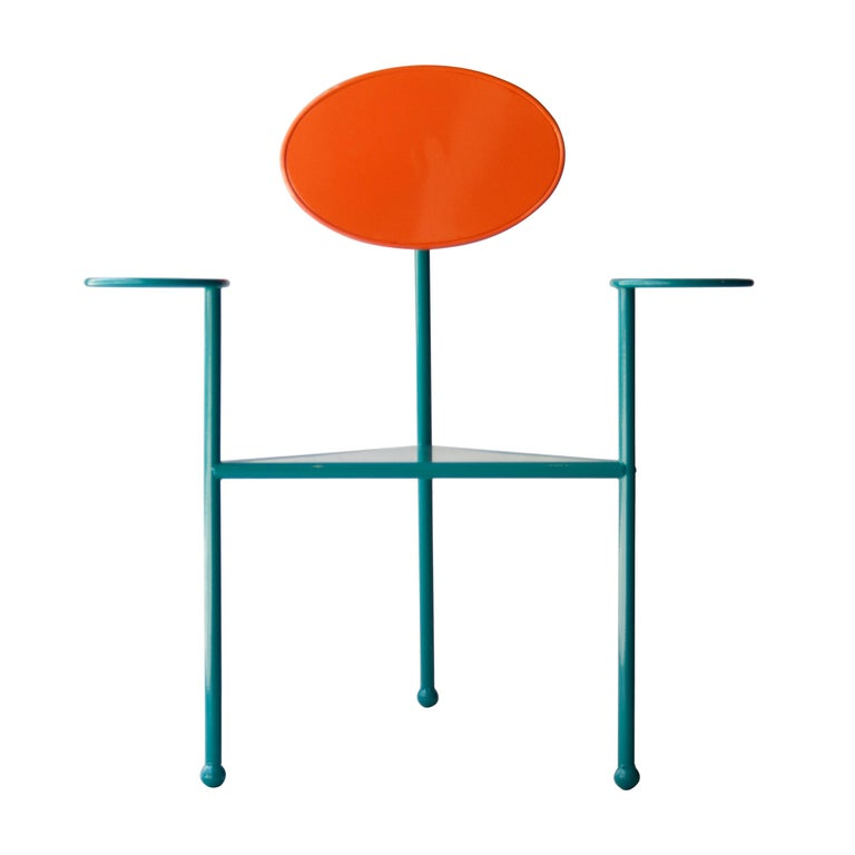 Modern Kresta Studio Contemporary Steel Laquered Orange Green Chair, Spain, 2019 For Sale
