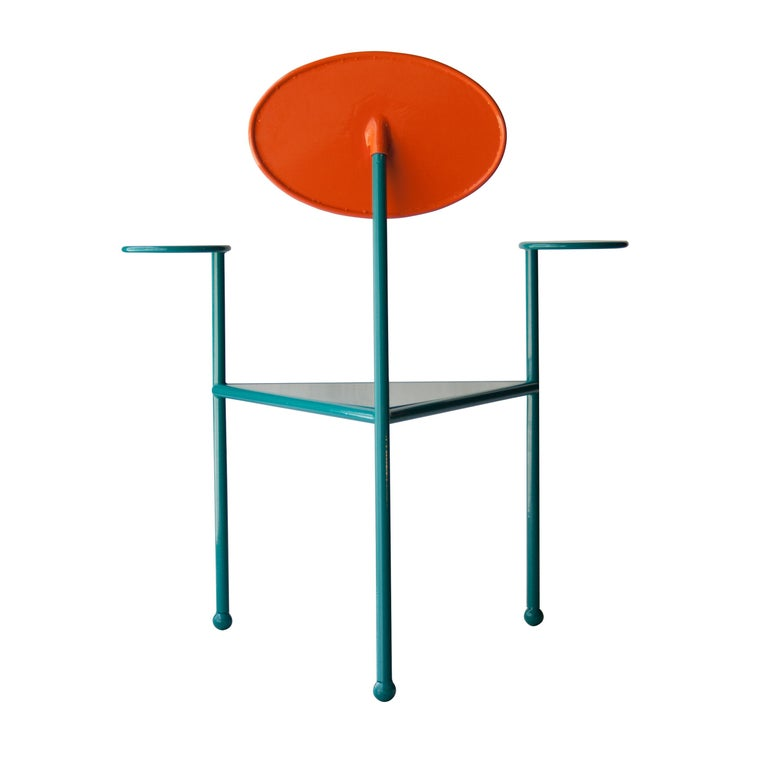 Lacquered Kresta Studio Contemporary Steel Laquered Orange Green Chair, Spain, 2019 For Sale