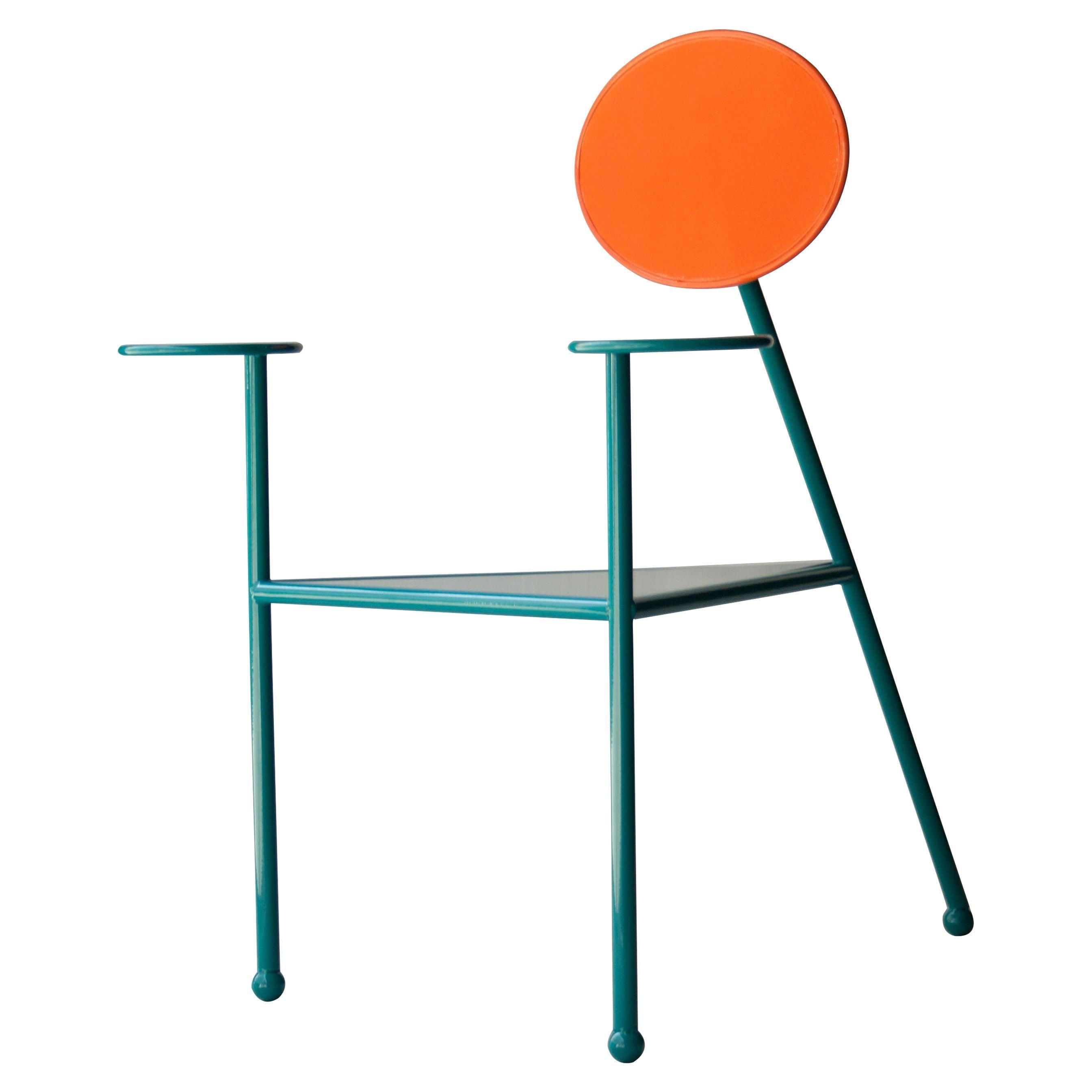 Kresta Studio Contemporary Steel Lacquered Orange Green Chair, Spain, 2019