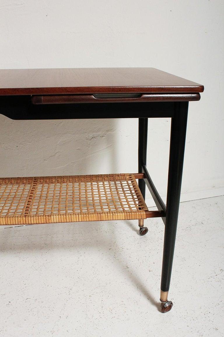 Kresten Buch Walnut and Rattan Drop-Leaf Hostess Table, 1960s Denmark For Sale 2