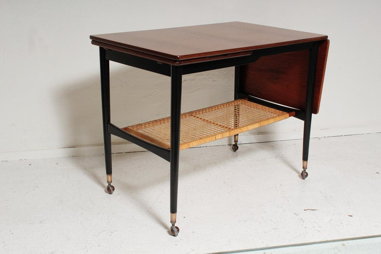 Kresten Buch Walnut and Rattan Drop-Leaf Hostess Table, 1960s Denmark In Good Condition For Sale In North Miami, FL