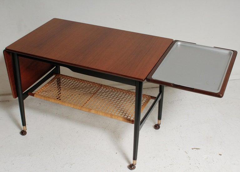 Stainless Steel Kresten Buch Walnut and Rattan Drop-Leaf Hostess Table, 1960s Denmark For Sale