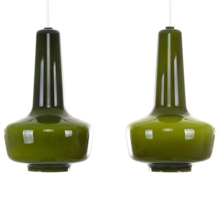 Kreta Pair of Green Blown Glass Pendant Lights by Jacob E. Bang in 1964