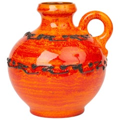 Kreutz Keramik German Midcentury Orange and Red Fat Lava Handled Vase