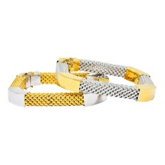 Kria 18 Karat Two-Tone Gold Italian Mesh Bangle Bracelets