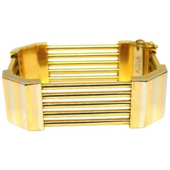 KRIA Tri-Tone Gold Geometrical Rectangular Bracelet