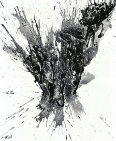 Chaotic Craziness In Bl & Wh Series - 1963.032814, Painting, Oil on Paper