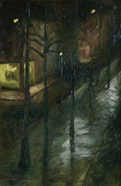Night - St Petersburg, Russia - 20th Century Oil, Nighttime Landscape by Krohn