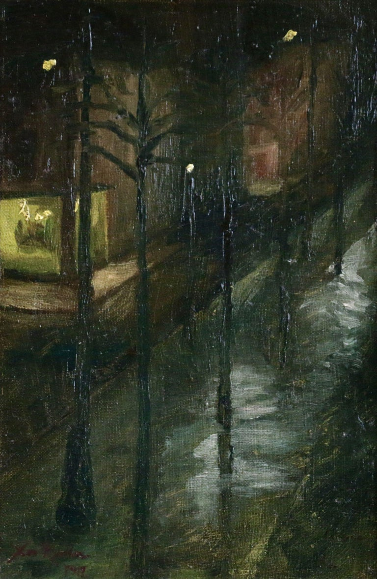 Oil on board by Russian painter Christian Cornelius Krohn depicting a road scene in the dead of night, with just the shop and street lights providing illumination. Signed & dated 1917 lower left. This painting is not currently framed but a suitable