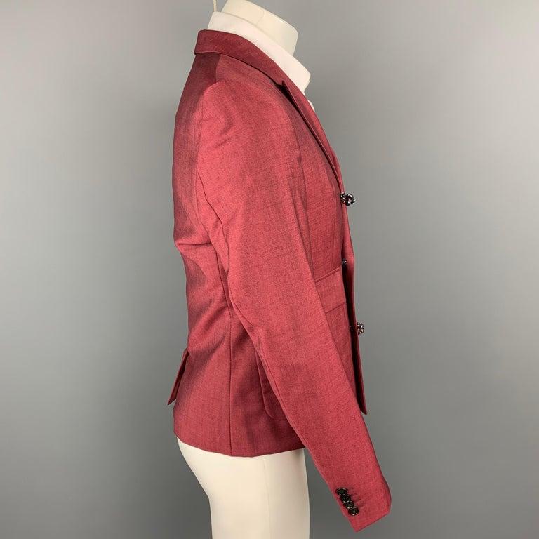 Red KRIS VAN ASSCHE Size 36 Burgundy & Black Viscose Blend Sport Coat For Sale