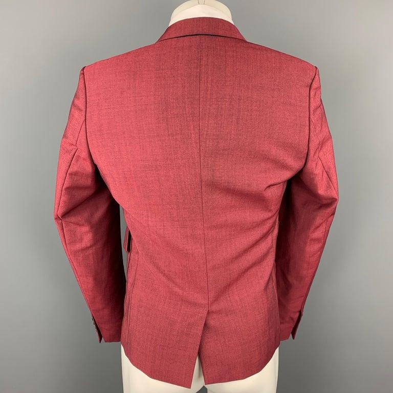KRIS VAN ASSCHE Size 36 Burgundy & Black Viscose Blend Sport Coat In Good Condition For Sale In San Francisco, CA