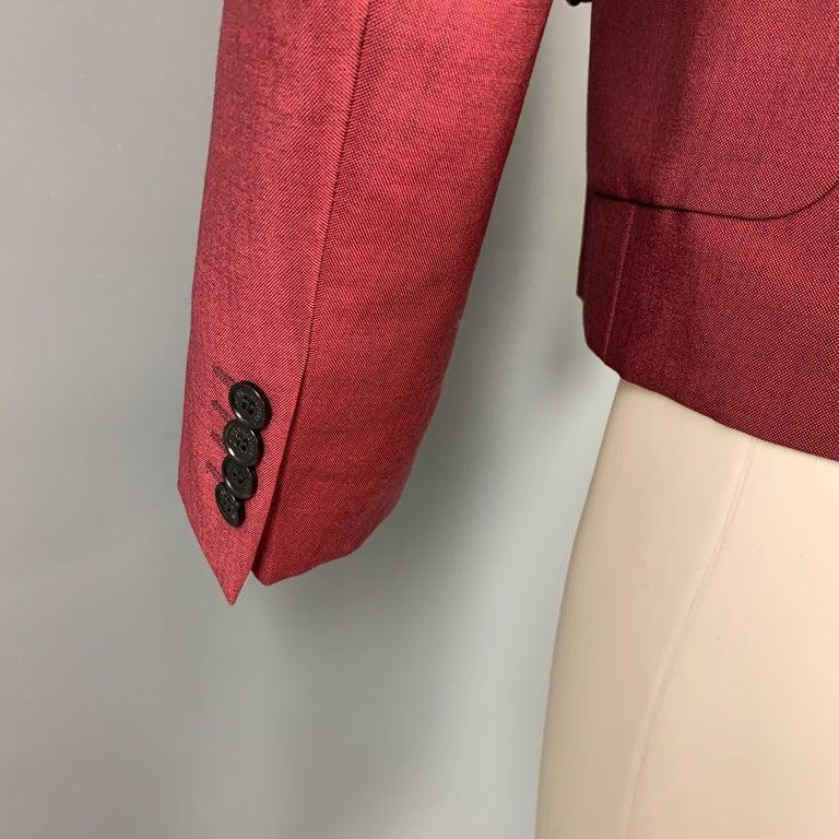 Men's KRIS VAN ASSCHE Size 36 Burgundy & Black Viscose Blend Sport Coat For Sale