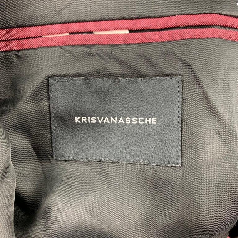 KRIS VAN ASSCHE Size 36 Burgundy & Black Viscose Blend Sport Coat For Sale 2