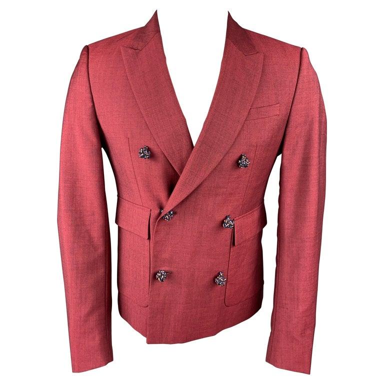 KRIS VAN ASSCHE Size 36 Burgundy & Black Viscose Blend Sport Coat For Sale