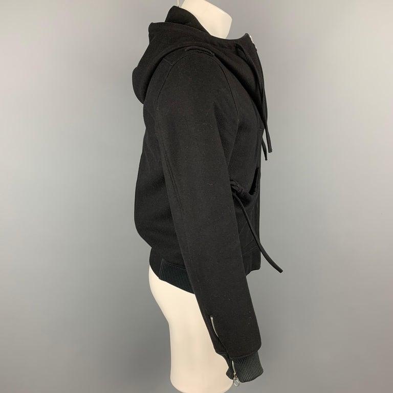 KRIS VAN ASSCHE Size 38 Black Wool Blend Hooded Jacket In Good Condition For Sale In San Francisco, CA